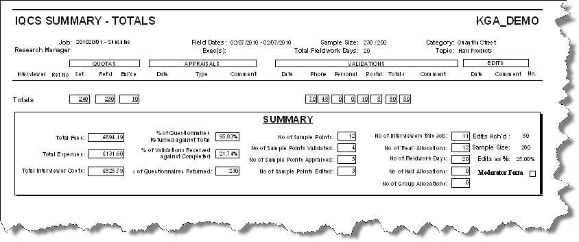 IQCS Summary Report Screen